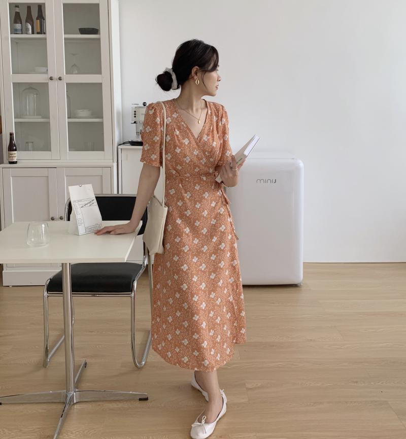 韓国 ファッション ワンピース 夏 春 秋 カジュアル PTXI526  くすみカラー ゆったり Aライン リラクシー オルチャン シンプル 定番 セレカジの写真20枚目