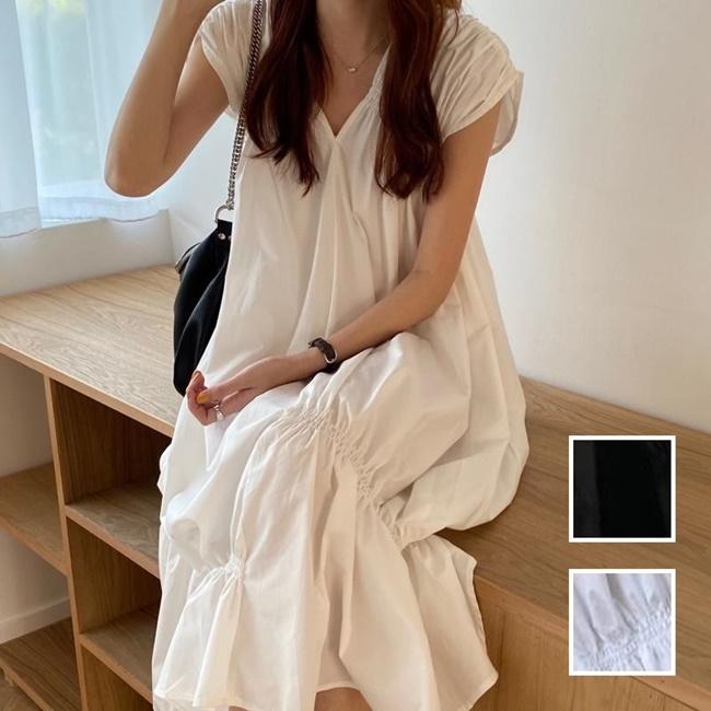 韓国 ファッション ワンピース 夏 春 カジュアル PTXI528  アシンメトリー マーメイド ギャザーディテール オルチャン シンプル 定番 セレカジの写真1枚目