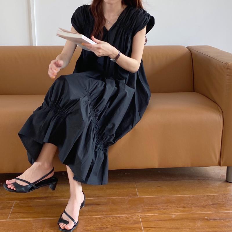 韓国 ファッション ワンピース 夏 春 カジュアル PTXI528  アシンメトリー マーメイド ギャザーディテール オルチャン シンプル 定番 セレカジの写真2枚目