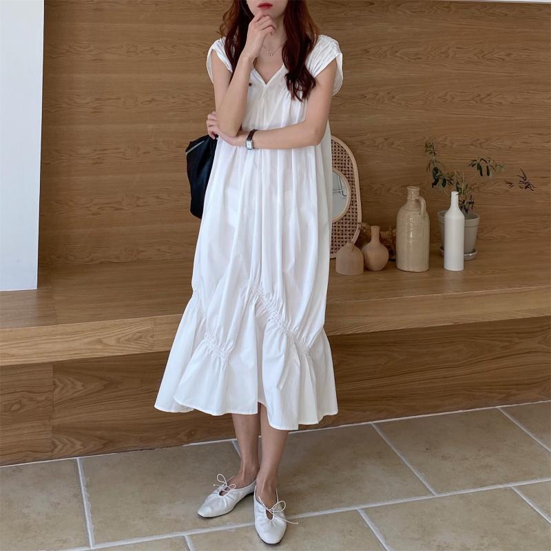 韓国 ファッション ワンピース 夏 春 カジュアル PTXI528  アシンメトリー マーメイド ギャザーディテール オルチャン シンプル 定番 セレカジの写真3枚目