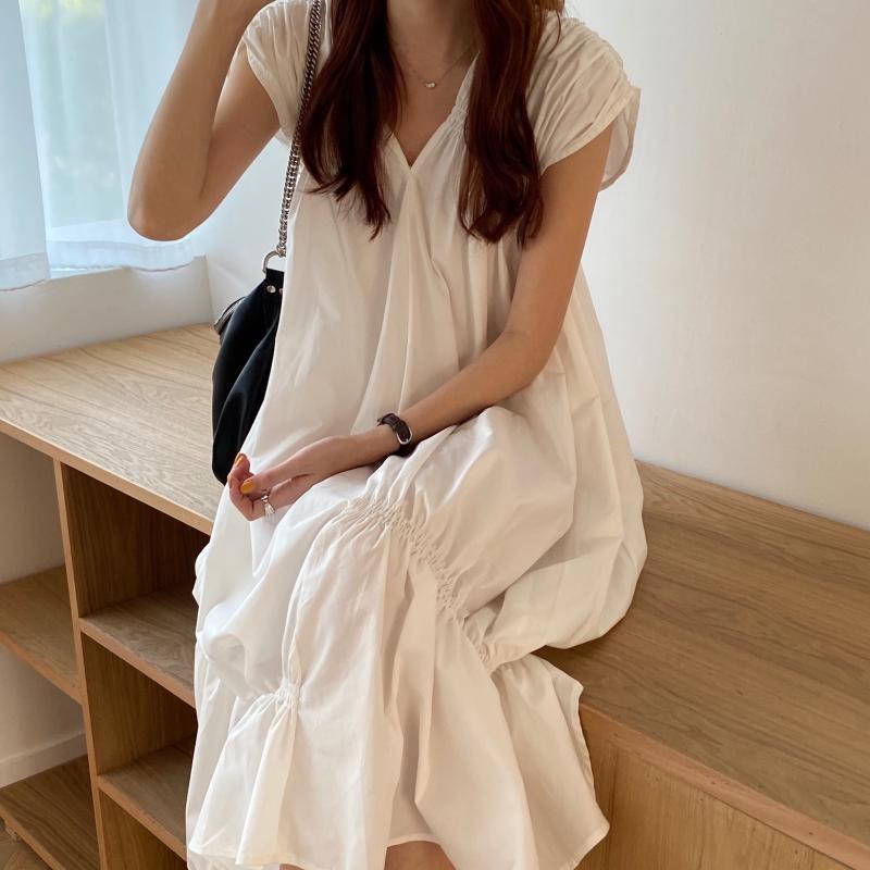 韓国 ファッション ワンピース 夏 春 カジュアル PTXI528  アシンメトリー マーメイド ギャザーディテール オルチャン シンプル 定番 セレカジの写真4枚目