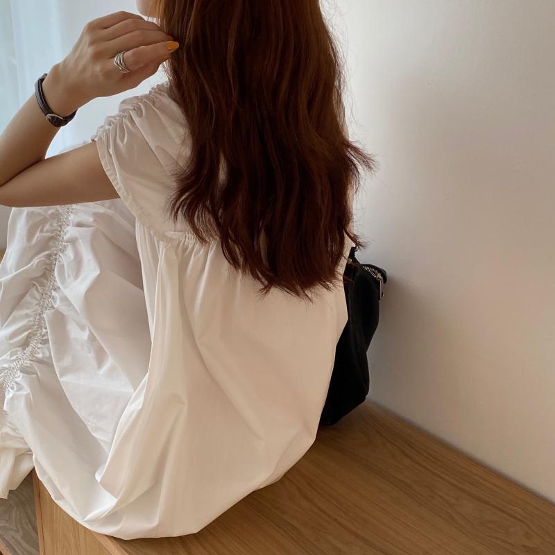 韓国 ファッション ワンピース 夏 春 カジュアル PTXI528  アシンメトリー マーメイド ギャザーディテール オルチャン シンプル 定番 セレカジの写真5枚目