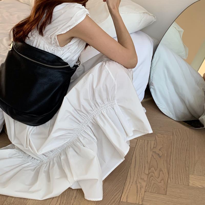 韓国 ファッション ワンピース 夏 春 カジュアル PTXI528  アシンメトリー マーメイド ギャザーディテール オルチャン シンプル 定番 セレカジの写真6枚目