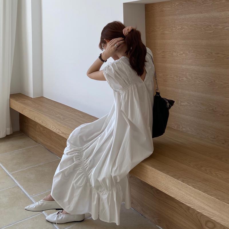 韓国 ファッション ワンピース 夏 春 カジュアル PTXI528  アシンメトリー マーメイド ギャザーディテール オルチャン シンプル 定番 セレカジの写真7枚目