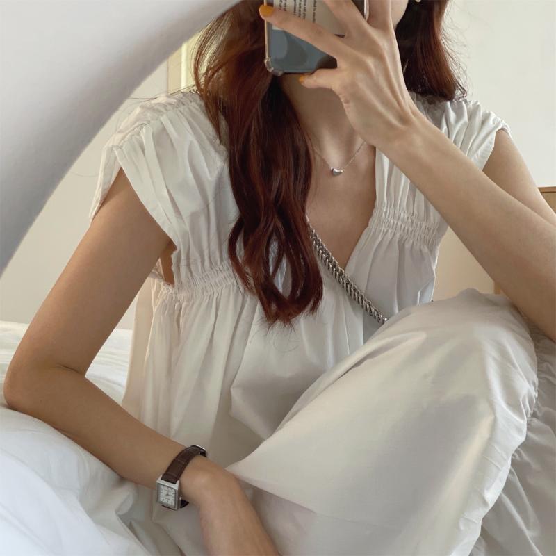 韓国 ファッション ワンピース 夏 春 カジュアル PTXI528  アシンメトリー マーメイド ギャザーディテール オルチャン シンプル 定番 セレカジの写真8枚目