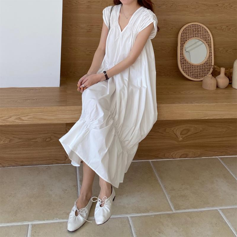 韓国 ファッション ワンピース 夏 春 カジュアル PTXI528  アシンメトリー マーメイド ギャザーディテール オルチャン シンプル 定番 セレカジの写真9枚目