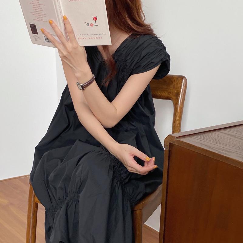 韓国 ファッション ワンピース 夏 春 カジュアル PTXI528  アシンメトリー マーメイド ギャザーディテール オルチャン シンプル 定番 セレカジの写真10枚目