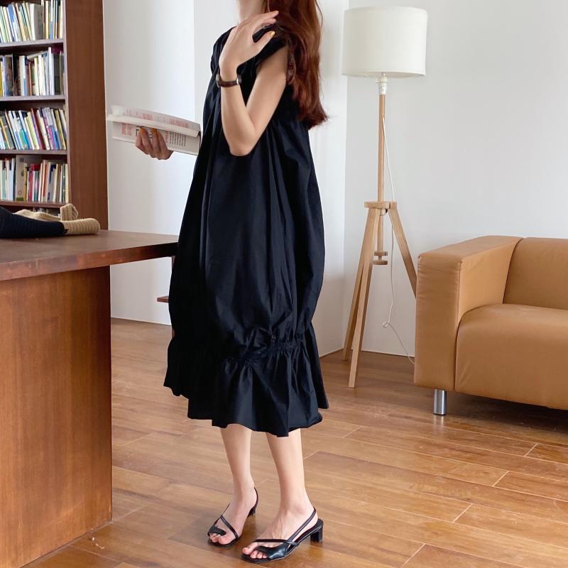 韓国 ファッション ワンピース 夏 春 カジュアル PTXI528  アシンメトリー マーメイド ギャザーディテール オルチャン シンプル 定番 セレカジの写真11枚目