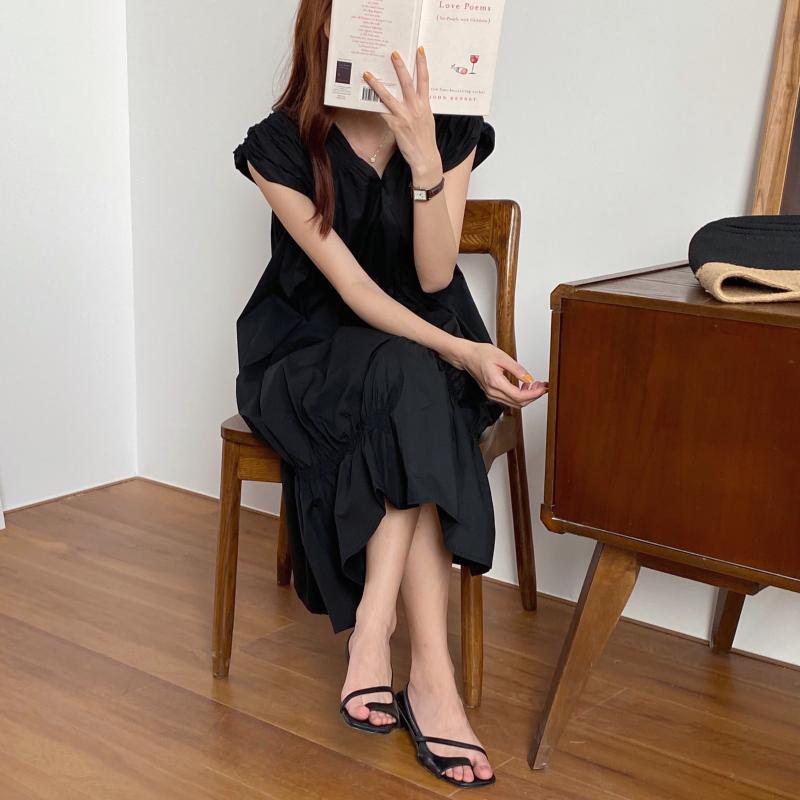 韓国 ファッション ワンピース 夏 春 カジュアル PTXI528  アシンメトリー マーメイド ギャザーディテール オルチャン シンプル 定番 セレカジの写真12枚目