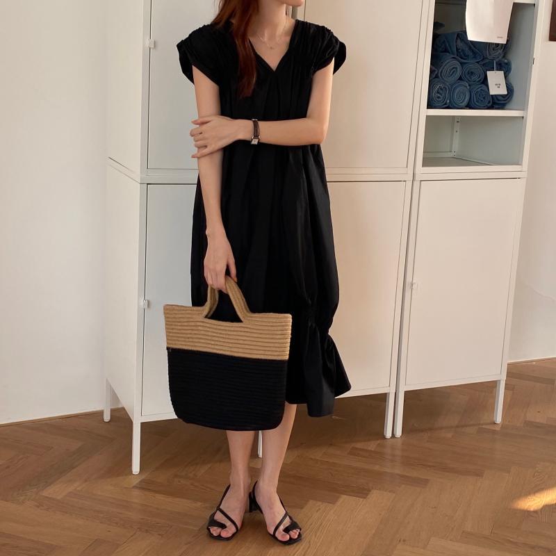 韓国 ファッション ワンピース 夏 春 カジュアル PTXI528  アシンメトリー マーメイド ギャザーディテール オルチャン シンプル 定番 セレカジの写真13枚目
