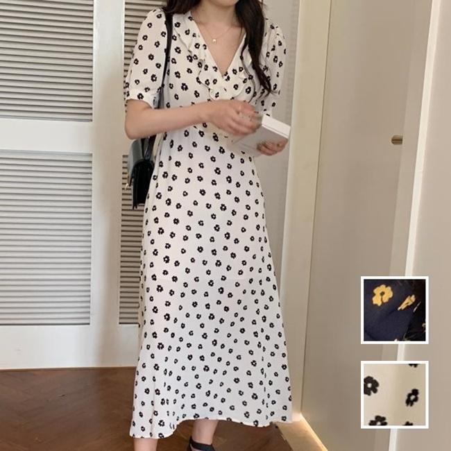 韓国 ファッション ワンピース 夏 春 カジュアル PTXI530  パフスリーブ カシュクール ラッフルカラー オルチャン シンプル 定番 セレカジの写真1枚目