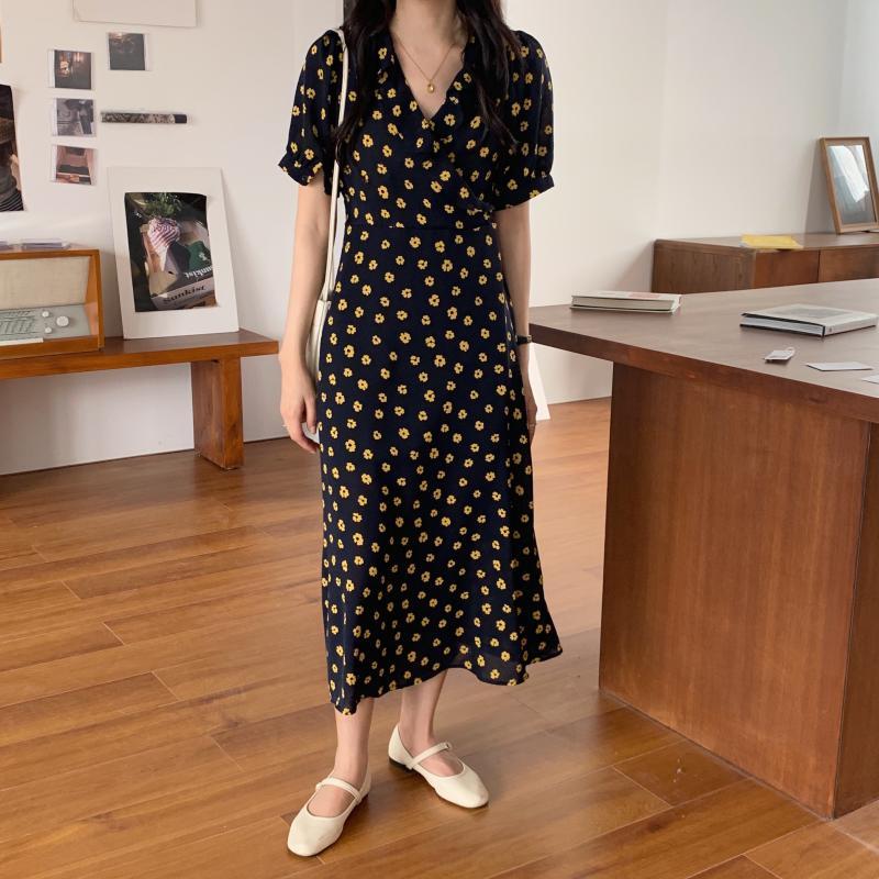 韓国 ファッション ワンピース 夏 春 カジュアル PTXI530  パフスリーブ カシュクール ラッフルカラー オルチャン シンプル 定番 セレカジの写真3枚目
