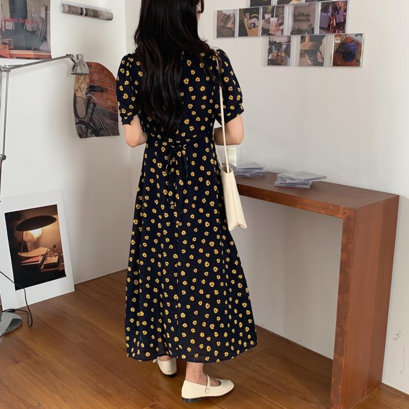 韓国 ファッション ワンピース 夏 春 カジュアル PTXI530  パフスリーブ カシュクール ラッフルカラー オルチャン シンプル 定番 セレカジの写真7枚目