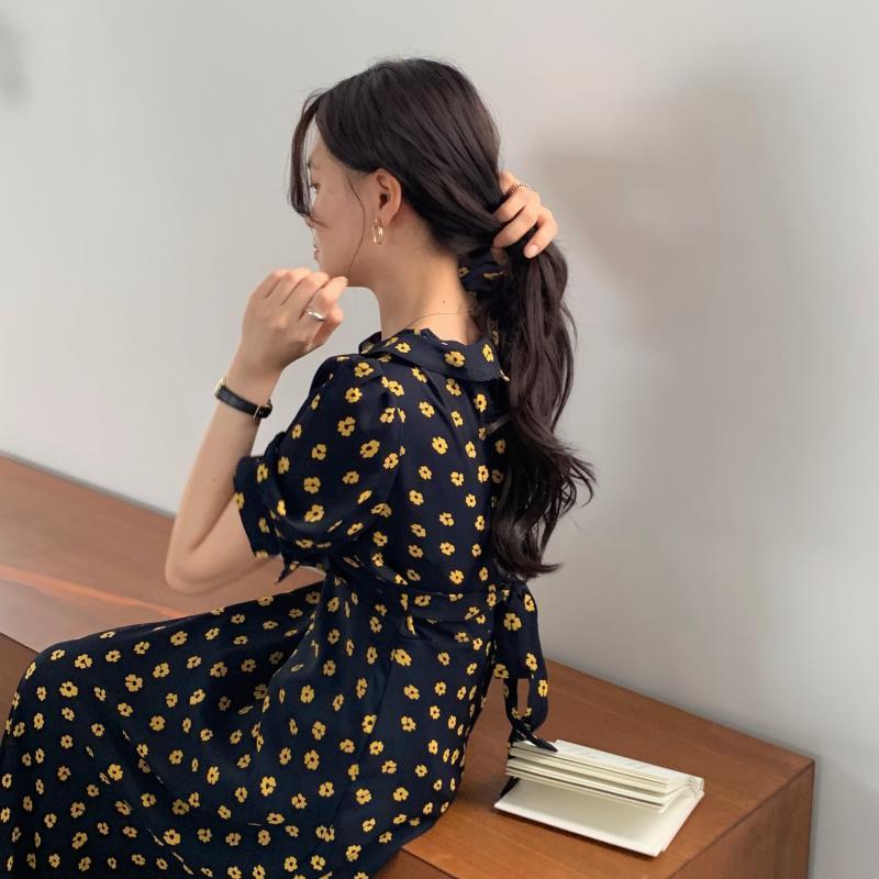 韓国 ファッション ワンピース 夏 春 カジュアル PTXI530  パフスリーブ カシュクール ラッフルカラー オルチャン シンプル 定番 セレカジの写真9枚目