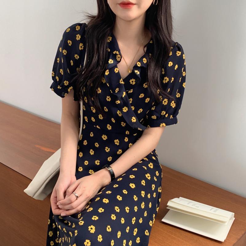 韓国 ファッション ワンピース 夏 春 カジュアル PTXI530  パフスリーブ カシュクール ラッフルカラー オルチャン シンプル 定番 セレカジの写真10枚目