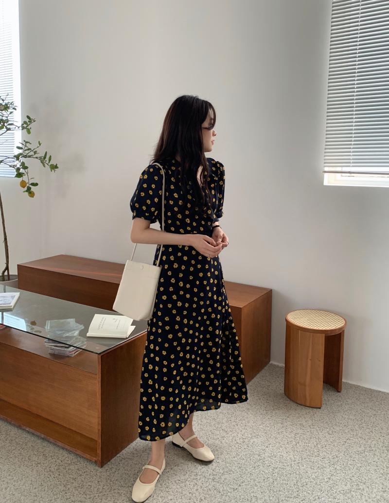 韓国 ファッション ワンピース 夏 春 カジュアル PTXI530  パフスリーブ カシュクール ラッフルカラー オルチャン シンプル 定番 セレカジの写真12枚目