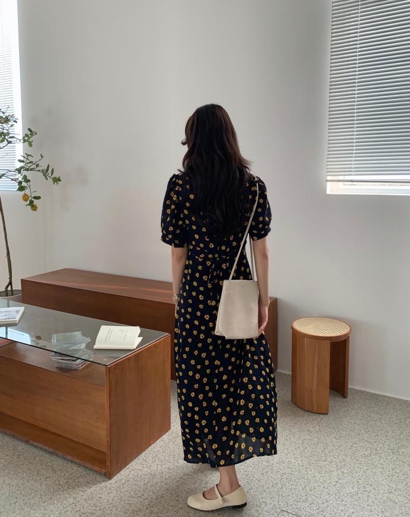 韓国 ファッション ワンピース 夏 春 カジュアル PTXI530  パフスリーブ カシュクール ラッフルカラー オルチャン シンプル 定番 セレカジの写真13枚目