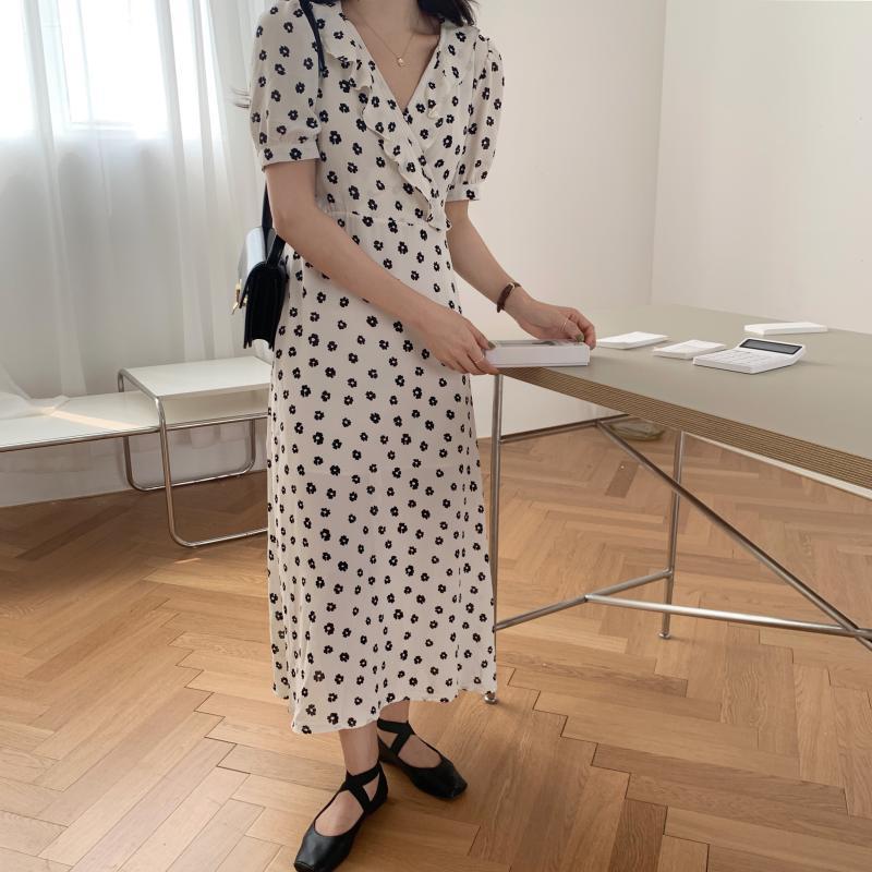 韓国 ファッション ワンピース 夏 春 カジュアル PTXI530  パフスリーブ カシュクール ラッフルカラー オルチャン シンプル 定番 セレカジの写真14枚目