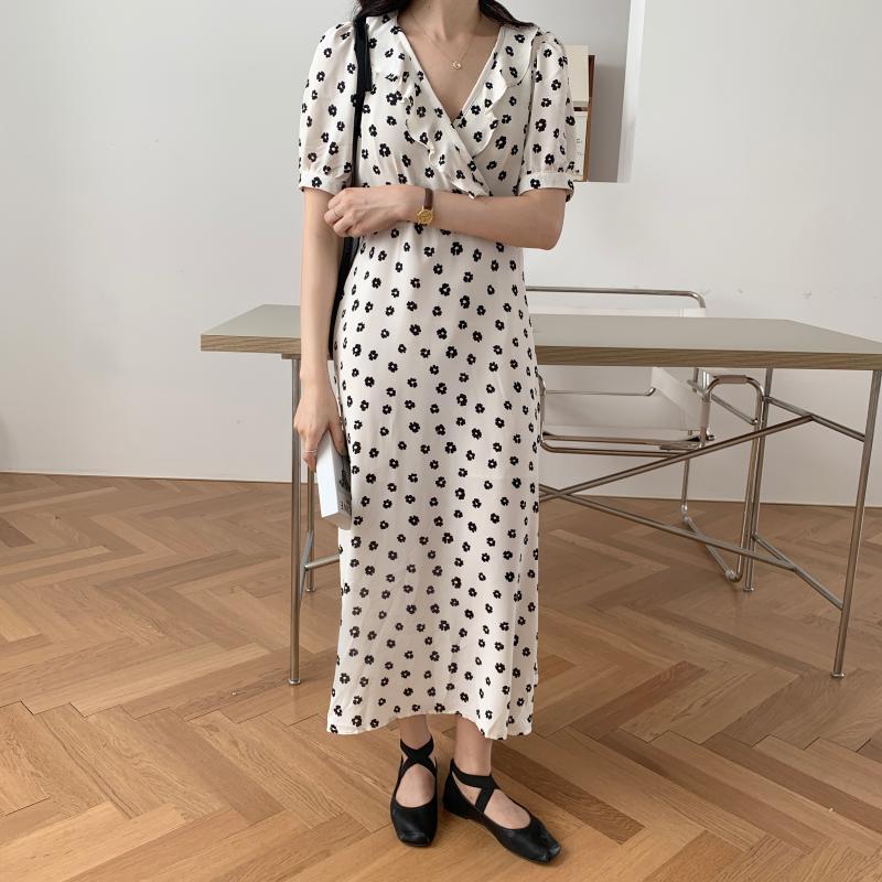 韓国 ファッション ワンピース 夏 春 カジュアル PTXI530  パフスリーブ カシュクール ラッフルカラー オルチャン シンプル 定番 セレカジの写真15枚目
