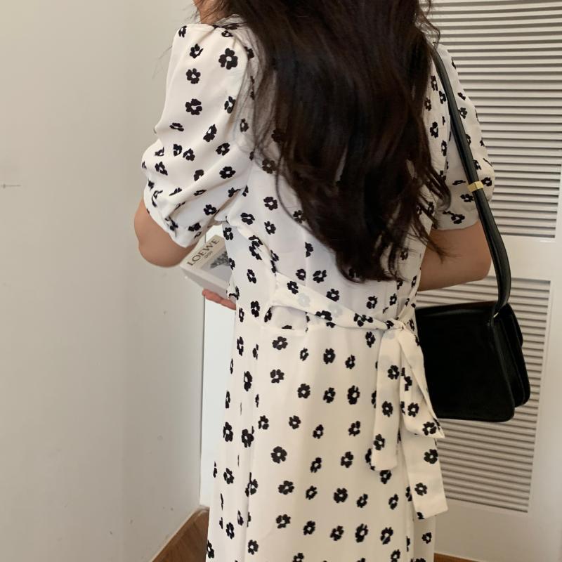 韓国 ファッション ワンピース 夏 春 カジュアル PTXI530  パフスリーブ カシュクール ラッフルカラー オルチャン シンプル 定番 セレカジの写真16枚目