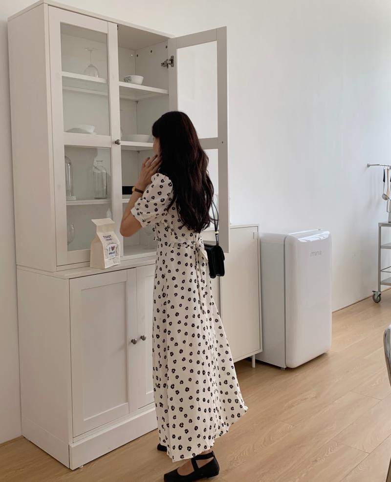 韓国 ファッション ワンピース 夏 春 カジュアル PTXI530  パフスリーブ カシュクール ラッフルカラー オルチャン シンプル 定番 セレカジの写真19枚目