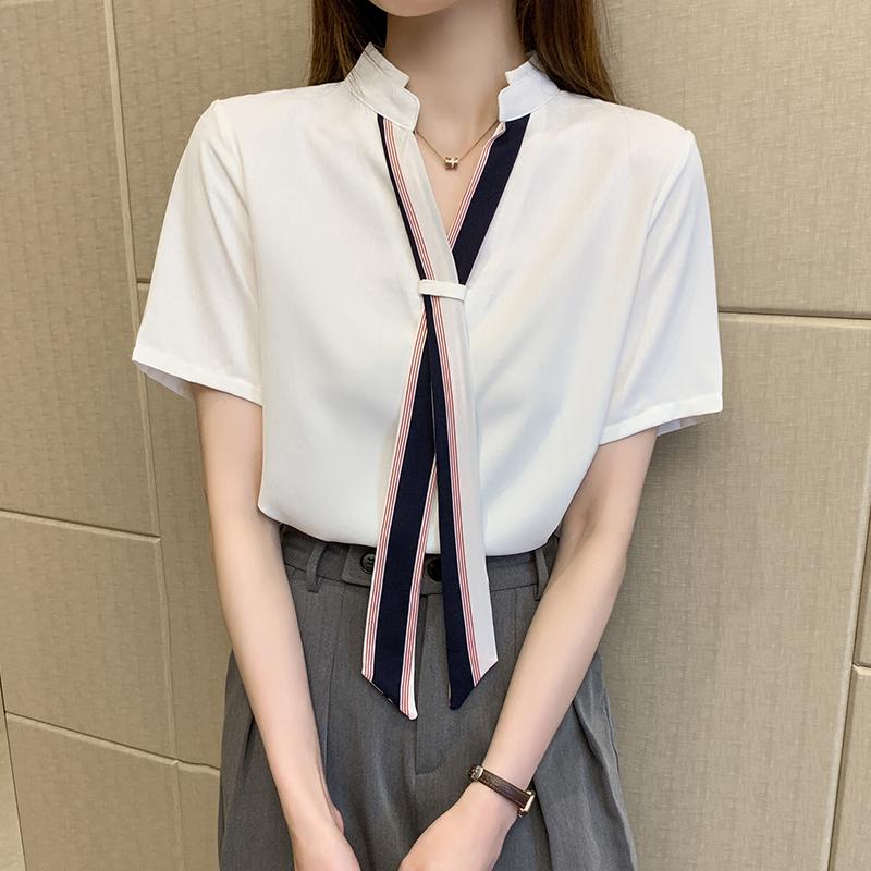 韓国 ファッション トップス ブラウス シャツ 春 夏 カジュアル PTXI551  バンドカラー ネクタイ風 トリコロールカラー オルチャン シンプル 定番 セレカジの写真4枚目