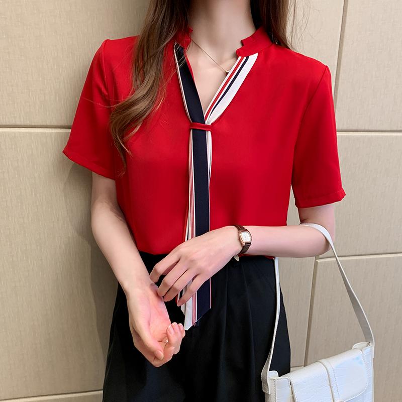 韓国 ファッション トップス ブラウス シャツ 春 夏 カジュアル PTXI551  バンドカラー ネクタイ風 トリコロールカラー オルチャン シンプル 定番 セレカジの写真5枚目