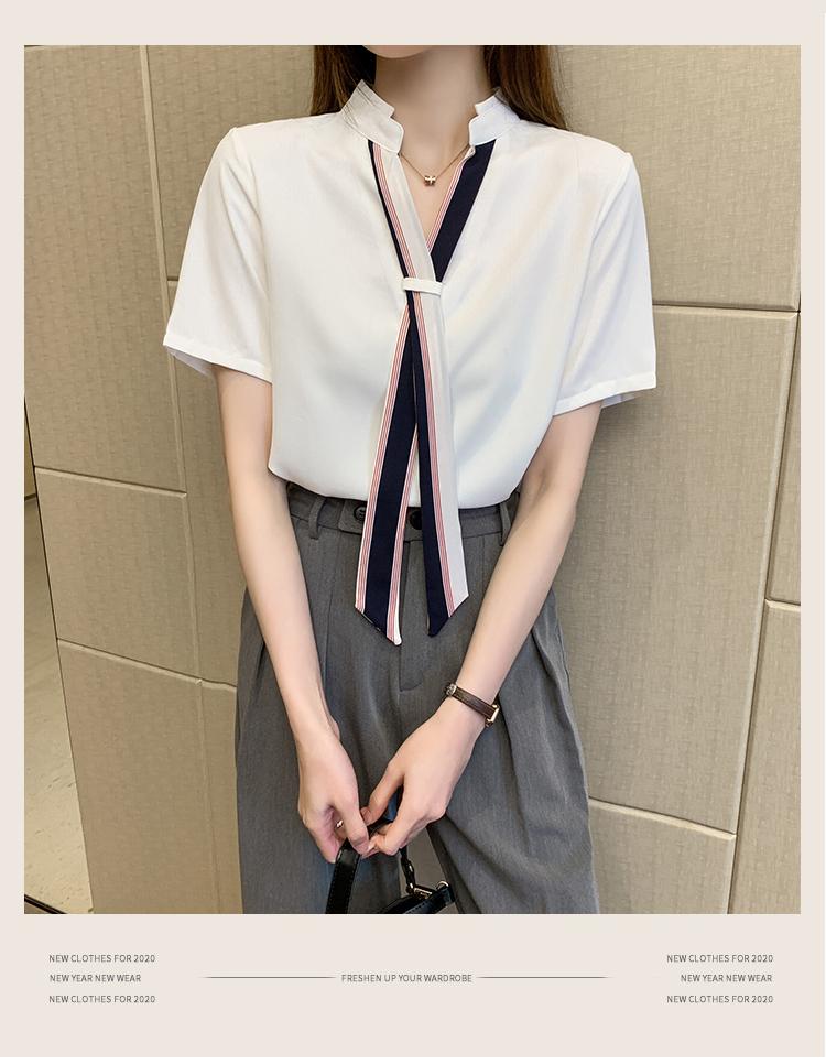 韓国 ファッション トップス ブラウス シャツ 春 夏 カジュアル PTXI551  バンドカラー ネクタイ風 トリコロールカラー オルチャン シンプル 定番 セレカジの写真7枚目