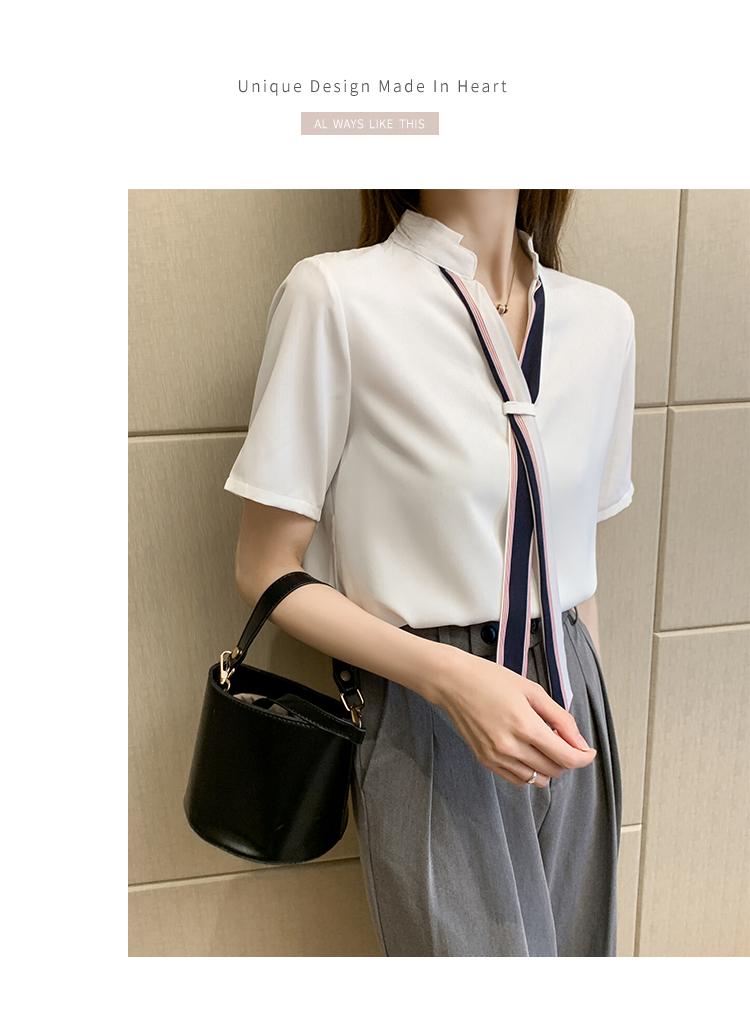 韓国 ファッション トップス ブラウス シャツ 春 夏 カジュアル PTXI551  バンドカラー ネクタイ風 トリコロールカラー オルチャン シンプル 定番 セレカジの写真8枚目