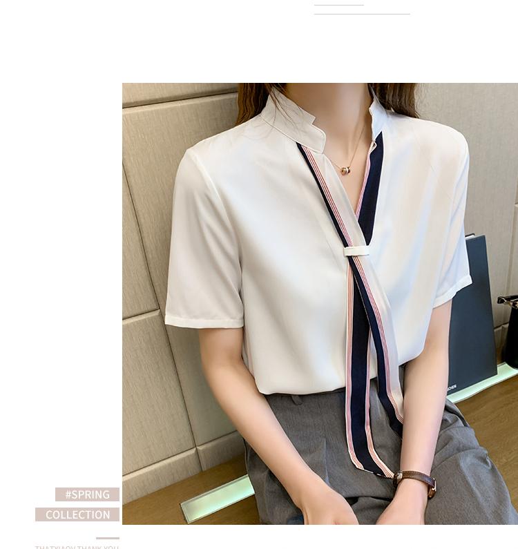 韓国 ファッション トップス ブラウス シャツ 春 夏 カジュアル PTXI551  バンドカラー ネクタイ風 トリコロールカラー オルチャン シンプル 定番 セレカジの写真12枚目