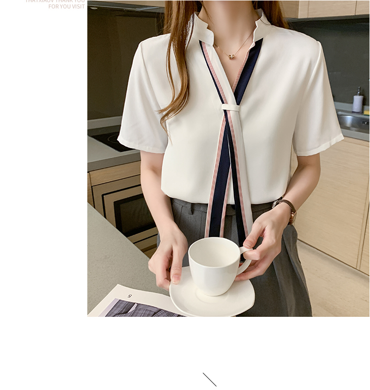 韓国 ファッション トップス ブラウス シャツ 春 夏 カジュアル PTXI551  バンドカラー ネクタイ風 トリコロールカラー オルチャン シンプル 定番 セレカジの写真13枚目