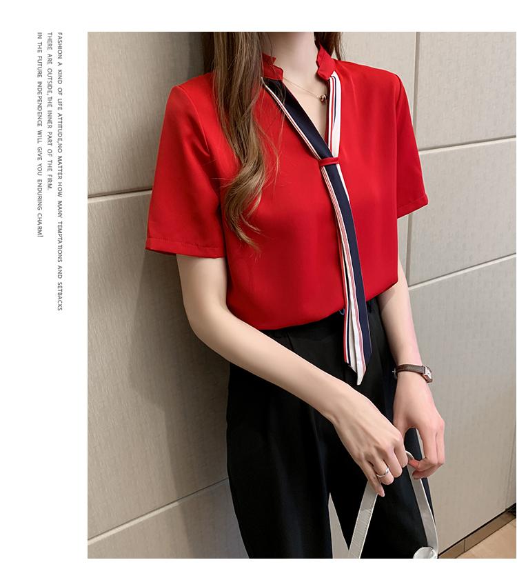 韓国 ファッション トップス ブラウス シャツ 春 夏 カジュアル PTXI551  バンドカラー ネクタイ風 トリコロールカラー オルチャン シンプル 定番 セレカジの写真15枚目