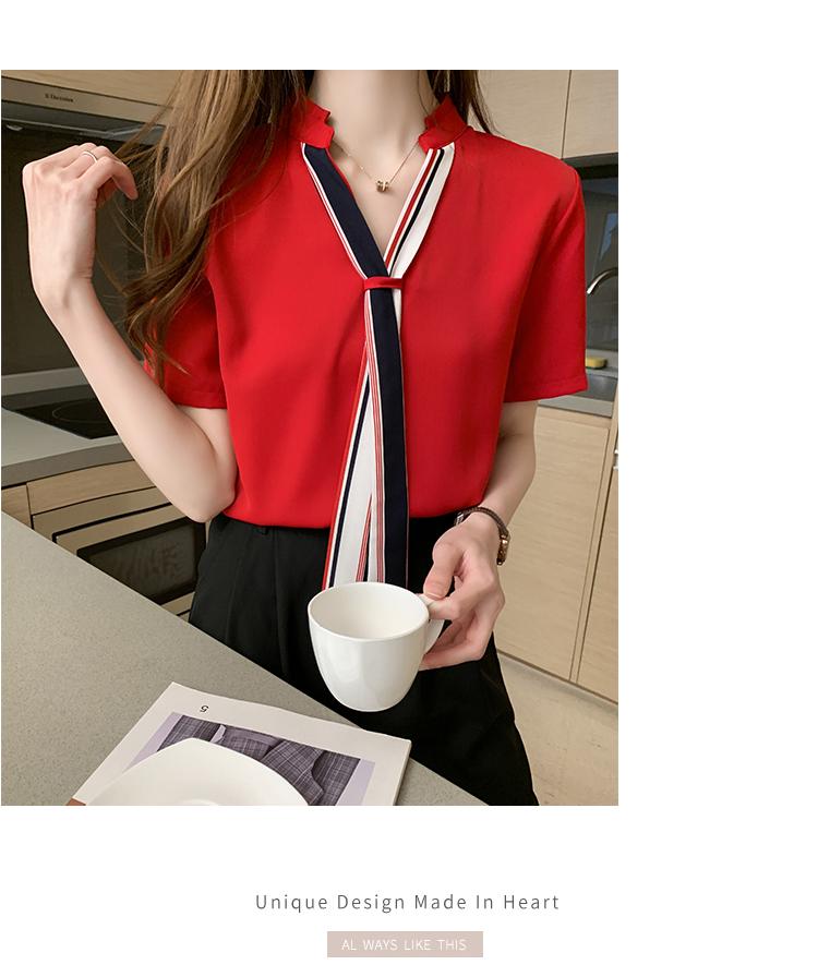 韓国 ファッション トップス ブラウス シャツ 春 夏 カジュアル PTXI551  バンドカラー ネクタイ風 トリコロールカラー オルチャン シンプル 定番 セレカジの写真16枚目