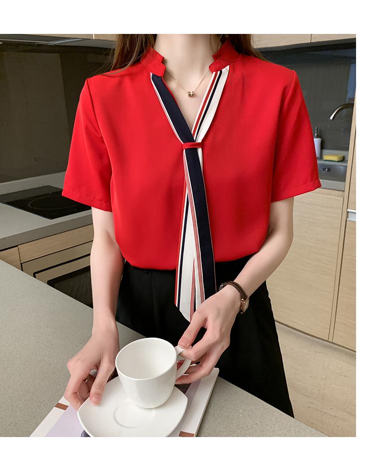 韓国 ファッション トップス ブラウス シャツ 春 夏 カジュアル PTXI551  バンドカラー ネクタイ風 トリコロールカラー オルチャン シンプル 定番 セレカジの写真17枚目