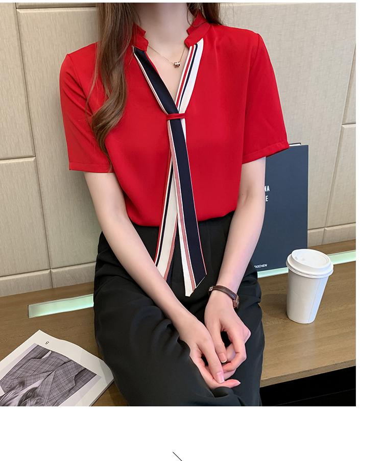 韓国 ファッション トップス ブラウス シャツ 春 夏 カジュアル PTXI551  バンドカラー ネクタイ風 トリコロールカラー オルチャン シンプル 定番 セレカジの写真19枚目