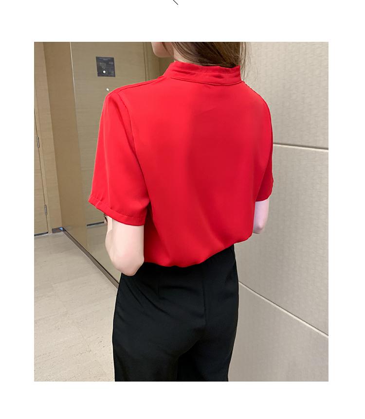 韓国 ファッション トップス ブラウス シャツ 春 夏 カジュアル PTXI551  バンドカラー ネクタイ風 トリコロールカラー オルチャン シンプル 定番 セレカジの写真20枚目