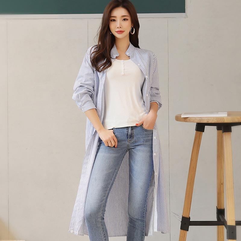 韓国 ファッション ワンピース 春 夏 秋 カジュアル PTXI612  バンドカラー オーバーサイズ シャツワンピ オルチャン シンプル 定番 セレカジの写真3枚目