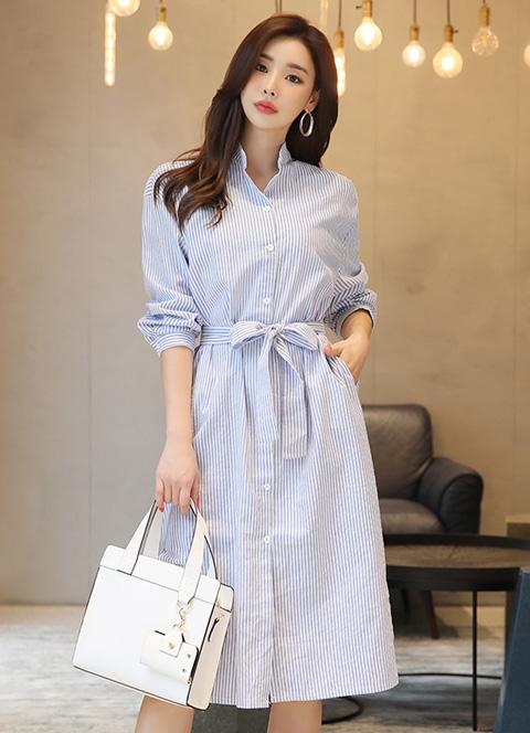 韓国 ファッション ワンピース 春 夏 秋 カジュアル PTXI612  バンドカラー オーバーサイズ シャツワンピ オルチャン シンプル 定番 セレカジの写真4枚目