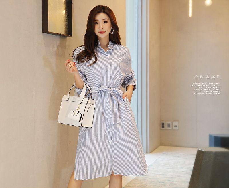 韓国 ファッション ワンピース 春 夏 秋 カジュアル PTXI612  バンドカラー オーバーサイズ シャツワンピ オルチャン シンプル 定番 セレカジの写真5枚目