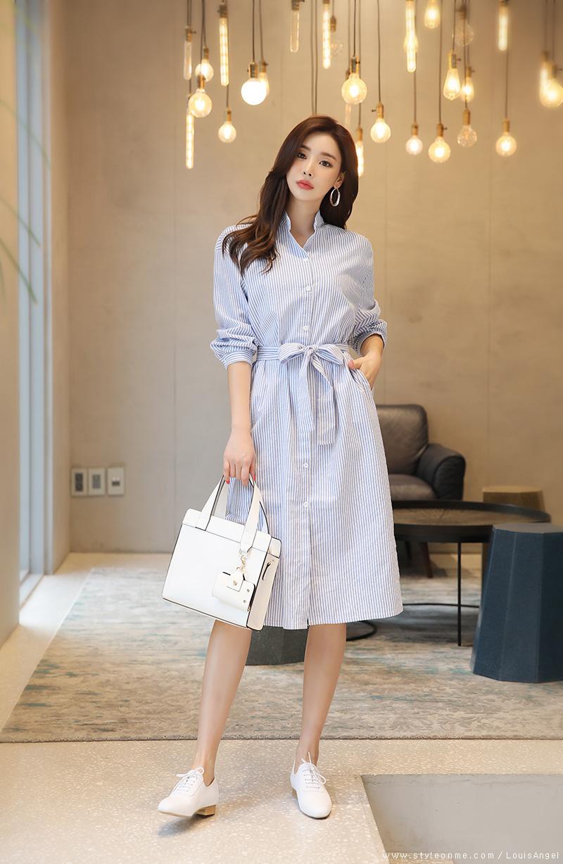 韓国 ファッション ワンピース 春 夏 秋 カジュアル PTXI612  バンドカラー オーバーサイズ シャツワンピ オルチャン シンプル 定番 セレカジの写真7枚目