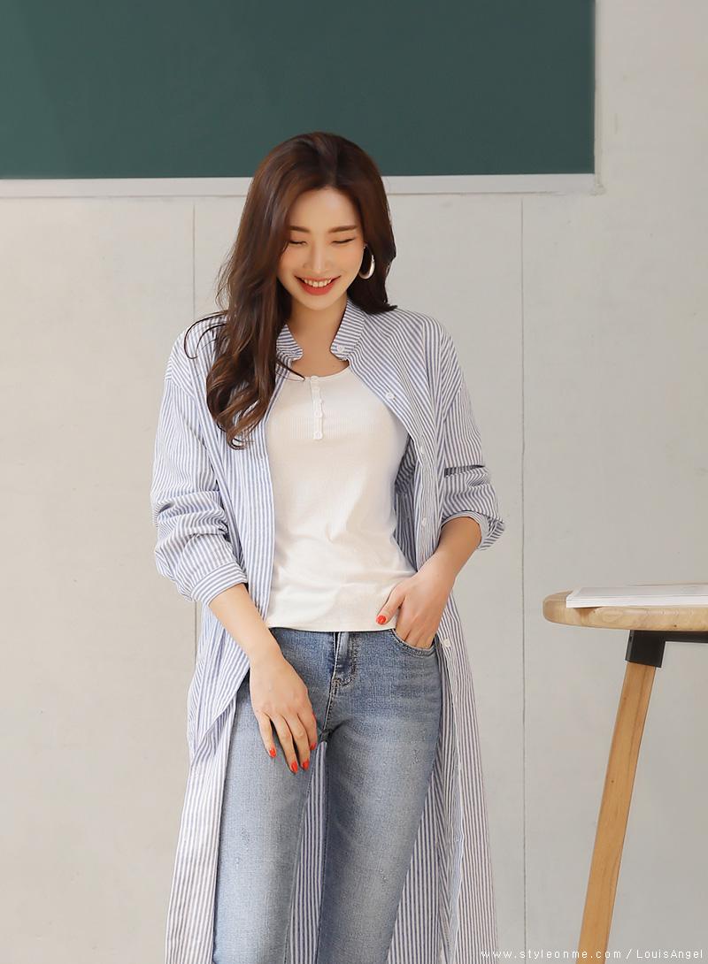 韓国 ファッション ワンピース 春 夏 秋 カジュアル PTXI612  バンドカラー オーバーサイズ シャツワンピ オルチャン シンプル 定番 セレカジの写真14枚目