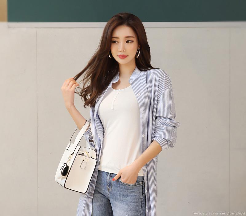 韓国 ファッション ワンピース 春 夏 秋 カジュアル PTXI612  バンドカラー オーバーサイズ シャツワンピ オルチャン シンプル 定番 セレカジの写真15枚目