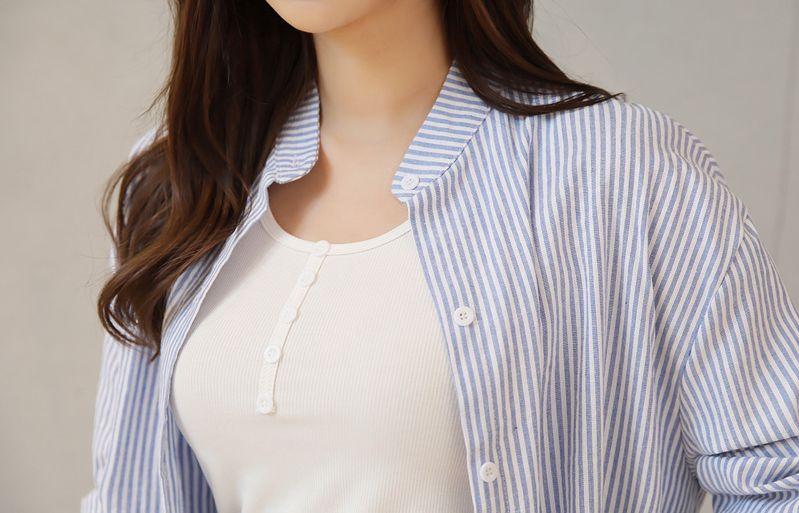 韓国 ファッション ワンピース 春 夏 秋 カジュアル PTXI612  バンドカラー オーバーサイズ シャツワンピ オルチャン シンプル 定番 セレカジの写真16枚目