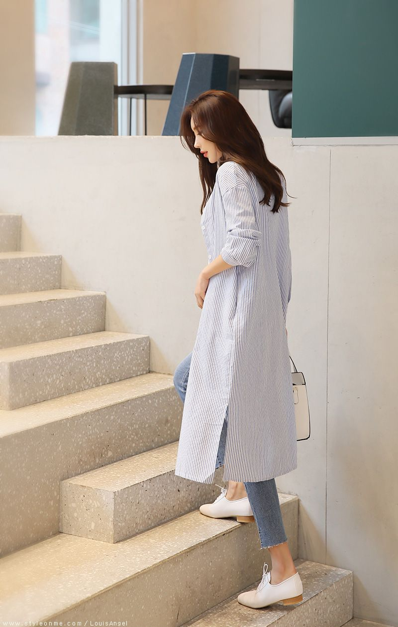 韓国 ファッション ワンピース 春 夏 秋 カジュアル PTXI612  バンドカラー オーバーサイズ シャツワンピ オルチャン シンプル 定番 セレカジの写真18枚目
