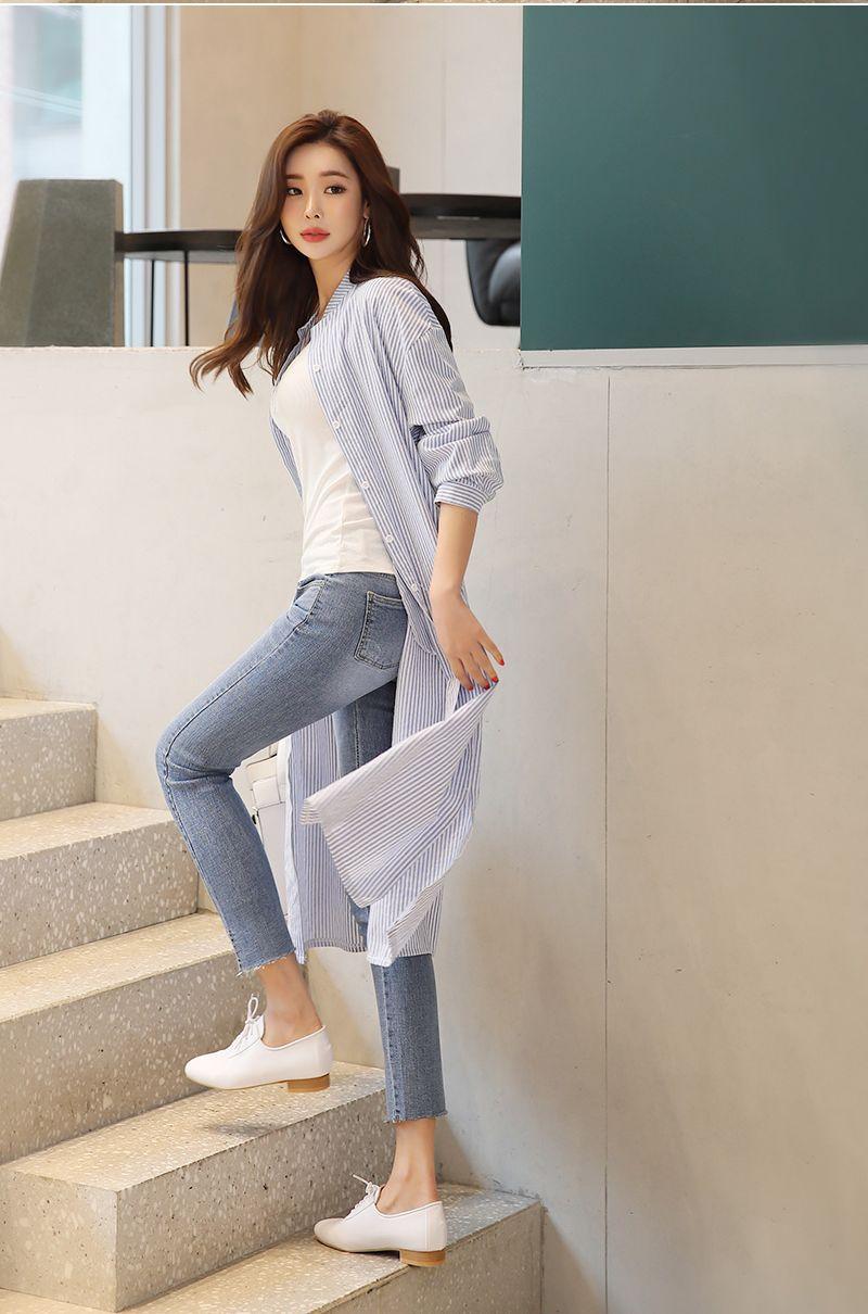 韓国 ファッション ワンピース 春 夏 秋 カジュアル PTXI612  バンドカラー オーバーサイズ シャツワンピ オルチャン シンプル 定番 セレカジの写真19枚目