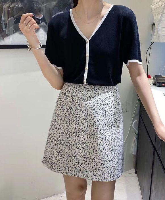 韓国 ファッション トップス カーディガン 春 夏 カジュアル PTXI654  バイカラー シアー サマーニット プレーン 清楚 オルチャン シンプル 定番 セレカジの写真14枚目