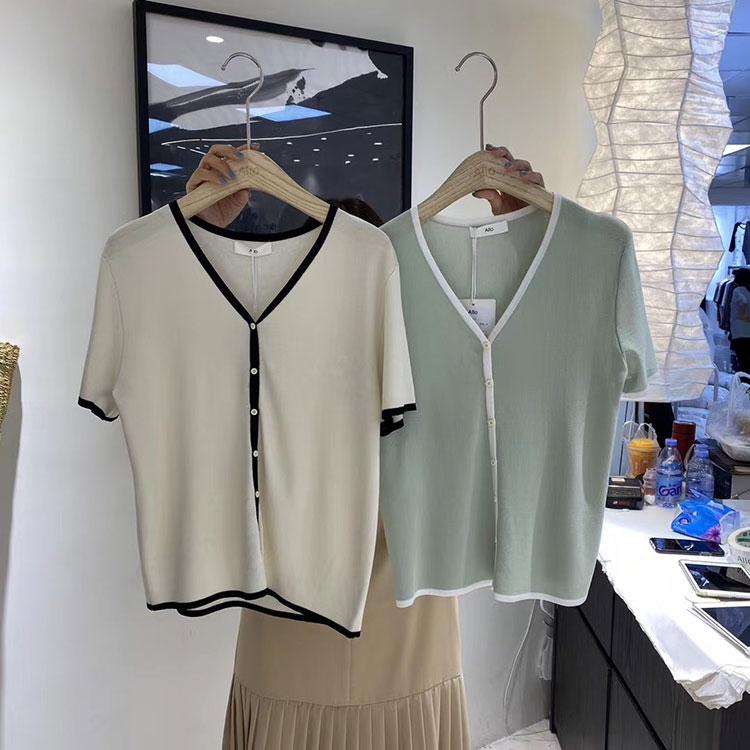 韓国 ファッション トップス カーディガン 春 夏 カジュアル PTXI654  バイカラー シアー サマーニット プレーン 清楚 オルチャン シンプル 定番 セレカジの写真18枚目