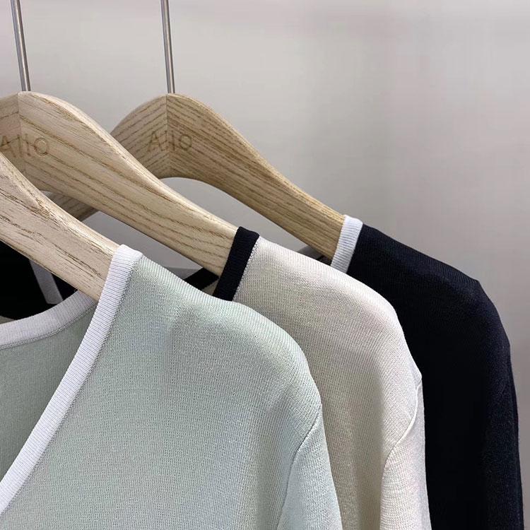 韓国 ファッション トップス カーディガン 春 夏 カジュアル PTXI654  バイカラー シアー サマーニット プレーン 清楚 オルチャン シンプル 定番 セレカジの写真19枚目