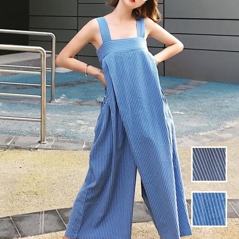 韓国 ファッション オールインワン オーバーオール 春 夏 秋 カジュアル PTXI665  タック ワイドパンツ アシメ チューブワンピ風 オルチャン シンプル 定番 セレカジの写真1枚目