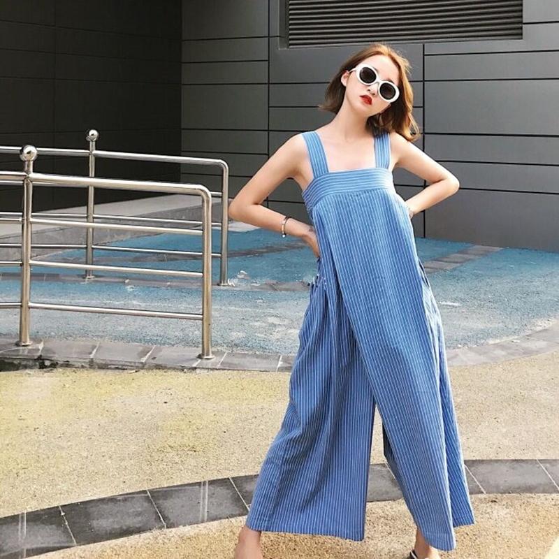 韓国 ファッション オールインワン オーバーオール 春 夏 秋 カジュアル PTXI665  タック ワイドパンツ アシメ チューブワンピ風 オルチャン シンプル 定番 セレカジの写真2枚目
